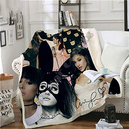Yoin Berühmtheit Ariana Grand Design - Manta de Felpa con impresión 3D para sofá Adulto Sherpa Fleece - 7, Verde, 150 x 200cm