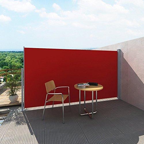 Anself - Toldo Lateral para Patio Terraza Jardín Balcón,Soporte De Acero (180x0-300cm,Rojo)