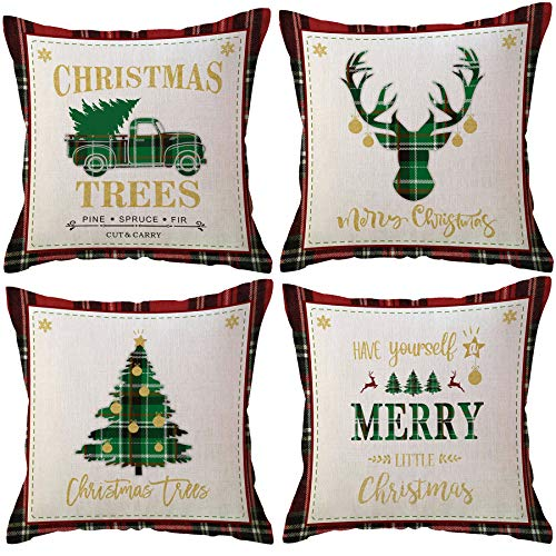 Christmas Decorations Throw Pillow Covers Buffalo Check Plaids Xmas Trees/ Deer/Vintage Truck Farmhouse Winter Holiday Decorative Cushion Pillowcases for Sofa Couch 18 x 18 Inches,Set of 4