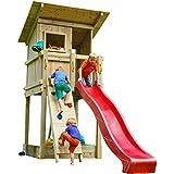 Blue Rabbit 2.0 Spielturm BEACH HUT mit Rutsche + Kletterwand Fernrohr Lenkrad Kletterturm Holzturm...