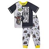 LEGO Star Wars Boy's Pajama, Baby Yoda 2 Piece PJ Set,100% Polyester, Black Grey, Size 8
