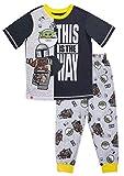 LEGO Star Wars Boy's Pajama, Baby Yoda 2 Piece PJ Set,100% Polyester, Black Grey, Size 6-7