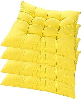 WEIZI Juego de 4 Cojines para sillas con Lazos Cojines para sillas de jardín 40 x 40 x 5 cm para Interiores y Exteriores para sillas de Cocina y Comedor (Amarillo)