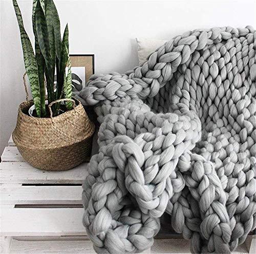 Manta de Punto Gruesa, Lana de Hilo Muy Grande Tejida a Mano, Manta para Mascotas Cama sofá Yoga Alfombra Gris 180×200cm