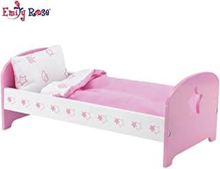 Emily Rose 18 Inch Doll Bed Furniture for My Life Dolls | Doll Bed with Star, Includes Plush Reversible Doll Bedding | Fits 18