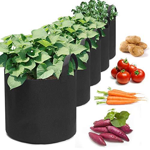 king do way 5 Stück Pflanzen Tasche, Pflanze Wachsende Tasche, Pflanzsack mit Griffe AtmungsaktivBeutel für Kartoffeln, Tomaten und Erdbeeren (5 Gallon)