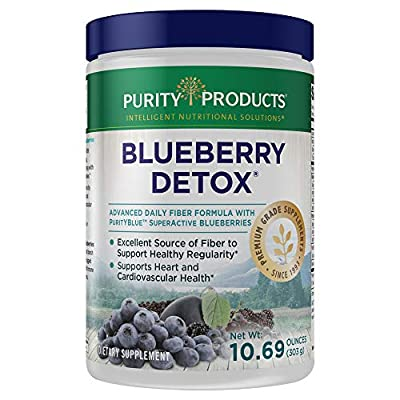 Advanced Blueberry Detox Daily Fiber Formula by Purity Products - Featuring PurityBlue Organic Wild Blueberries - A Full 6 Grams of Detoxifying, Regularity Promoting Prebiotic Fiber - 30 Servings