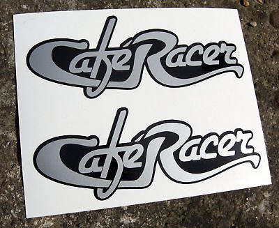 CAFE RACER style ARGENT Texte logos x2