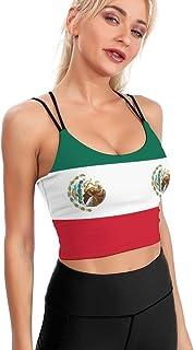 Cyloten Women's Sport Tank Top Mexican Flag Sports Bra Yoga Longline Crop Top -