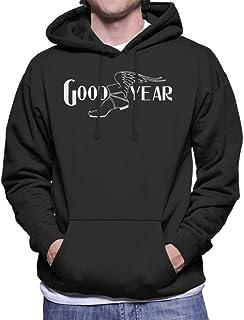 Goodyear Svart och vit logotyp huvtröja för män
