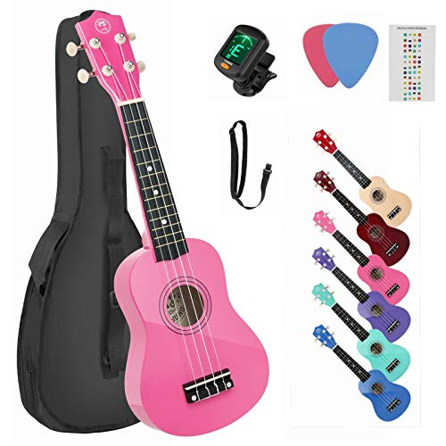 High Gloss Soprano Basswood Ukulele 21inch Starter Kit for Beginner with Gig Bag/Clip-on Tuner, Kids Ukulele Uke Hawaii Mini Guitar for Kids Adults and Beginners