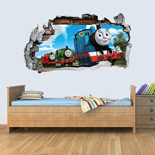GNG Trains Engine 3D Smashed Wandaufkleber Jungen MädChen Schlafzimmer Züge L