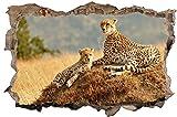 DesFoli Leopard Gepard 3D Look Wandtattoo 70 x 115 cm Wanddurchbruch Wandbild Sticker Aufkleber D297