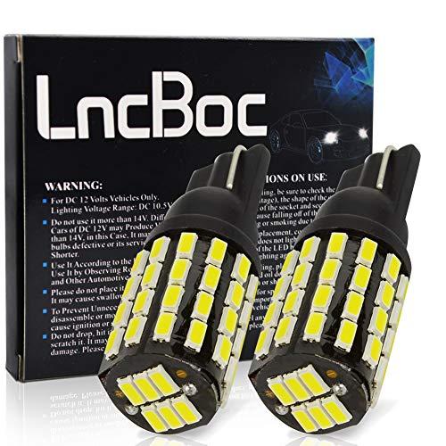 LncBoc T10 LED Ampoules de Voiture Lampe Haut illuminum W5W 54LED 3014 Chipset Ampoule 194 168 Feux de positionnement latéraux plaque d'immatriculation DC 12V 6500K Blanc 2Pcs