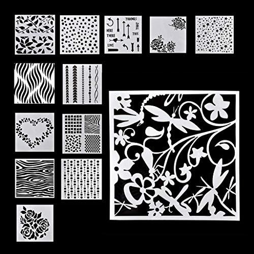 Hahuha DIY Zeichnungsvorlage, Blumenprägevorlage Scrapbooking Wände Malen Schichtschablonen (13 STK.), Büromaterial