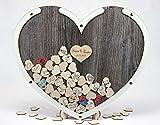 Laserano Edles Hochzeitsgästebuch, Herzform, Holz Herzchen - Personalisierbar mit Wunschgravur