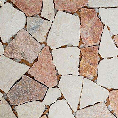 Mosaik Fliese Marmor Naturstein rot beige Bruch Ciot Rosso Verona Botticino für BODEN WAND BAD WC DUSCHE KÜCHE FLIESENSPIEGEL THEKENVERKLEIDUNG BADEWANNENVERKLEIDUNG Mosaikmatte Mosaikplatte