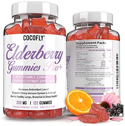 Premium Sambucus Elderberry Gummies for Adults & Kids, with Vitamin C, Echinacea, Propolis, Black Sambucol 120 Gummies for Immunity, Powerful Immune Support Supplement Raspberry Flavor Gummy Vitamins