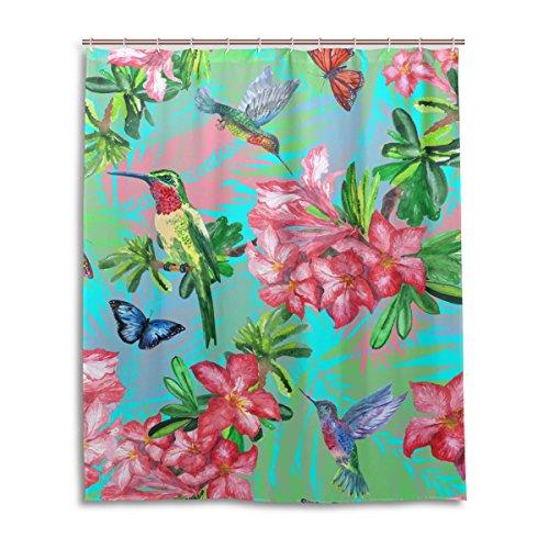 JSTEL Dekorativer Duschvorhang mit tropischen Schmetterlingen, Kolibri-Muster, 100 prozent Polyester, 152,4 x 182,9 cm, für Zuhause, Badezimmer, dekorative Dusche, Badewannenvorhänge