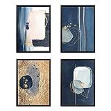 set di 4 poster premium astratto luxury oro, quadri da parete per arredo soggiorno, camera, cucina | a3 42x29,7cm stampe d'arte