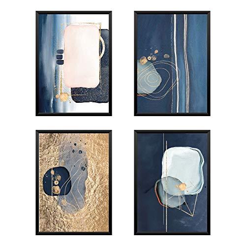 Lot de 4 posters Premium Astratto Luxury Doré, Tableau...
