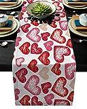 Runner da tavola rettangolare per San Valentino, decorazione banchetti di nozze, forniture per feste – ragazzo che guida una bicicletta invia regalo a tema amore, Cotone lino, Happy Valentine's Day3000lheu8774, 13x90inch