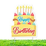 MiCa Direct Happy Birthday Yard Signs with Stakes - Weatherproof Corrugated Plastic Board - Colorful Banner Style Lawn & Backyard Decor for Outdoor Celebration(16.3 x 12.8 Inches)