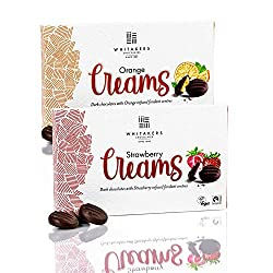 2 packs of Whitakers Dark Chocolate Creams, Strawberry & Orange Beautifully designed, colourful gift boxes. Top quality, highly refined luxurious dark chocolate Vegan, Gluten Free, Fairtrade Cocoa Perfect as chocolate gifts. Great as after dinner cho...