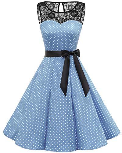 bbonlinedress 1950er Ärmellos Vintage Retro Spitzenkleid Rundhals Abendkleid Blue White Dot M
