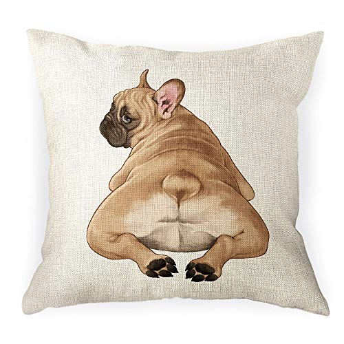 WIRESTER Sofa Pillow Case, Decorative Throw Pillow Cushion Cover for Home Office 18 x 18 Inch, French Bulldog Butt Looking Back