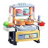 CaoQuanBaiHuoDian Kinder Bausteine Spielküche Plastic Little Chef Pretend Kochen Spielzeug-Set mit Kochgeschirr Zubehör Intelligent Spielset for Kinder (Farbe : Blau, Größe : 37x21x34cm)
