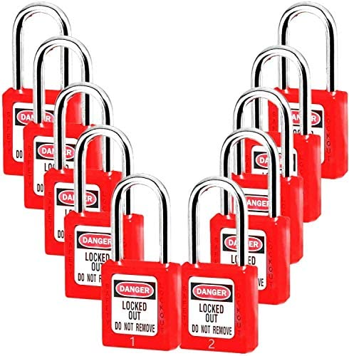 Lockout Tagout Locks Safety Padlock Plastic Red 10PCS 10 Red Different NO product image