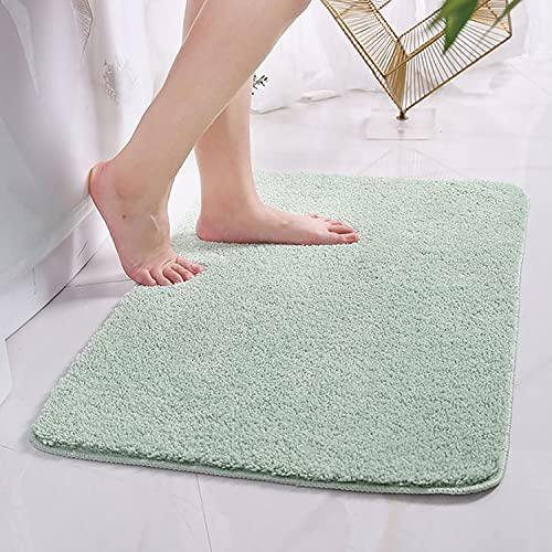 Bath Mat Bathroom Door Floor Rugs Thick Non Slip Super Soft Shaggy Plush Carpet Absorbent Area Rug Bath Shower Mat (24'' x 16'', Pale Green)