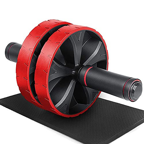iMoebel Ab Wheel Roller Bauchroller - Abdominal Roller Doppelrad Set Dual Modi Bauchtrainer, Bauch Weg Trainer mit Kniematte für Sixpack Core ABS Rollout Übung Fitness Bauchmuskeltraining Rot