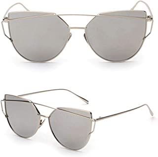 Womens Mirrored Flat Lens Metal Frame Cat Eye Sunglasses Silver Frame Silver Lens