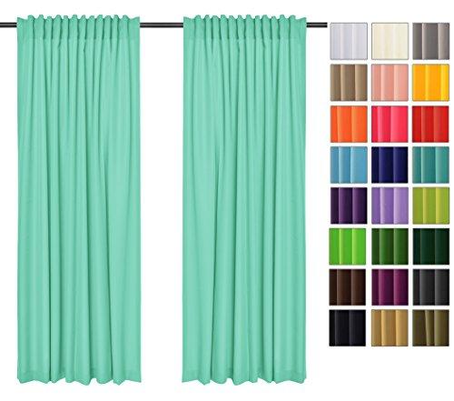 Rollmayer Vorhänge mit Tunnelband Kollektion Vivid (Mint 47, 135x175 cm - BxH) Blickdicht Uni einfarbig Gardinen Schal für Schlafzimmer Kinderzimmer Wohnzimmer