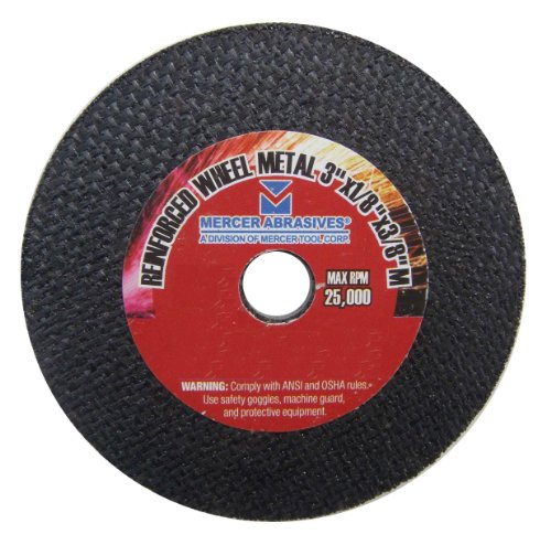 Mercer Abrasives 613180-50 Small Diameter High Speed Fully Reinforced Cut-Off Wheels 3-Inch by 1/8-Inch by 3/8-Inch C, 50-Pack -