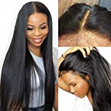 28Inch Lace Front Straight Wig Human Hair with Baby Hair 13x1 deep middle part Lace Straight Wig 150% Density Human Hair Wigs for Women Natural Hairline Black Color (28, natural of black)