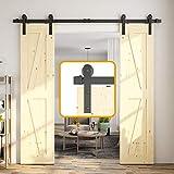 skysen 6.6FT Double Door Sliding Barn Door Hardware Track Kit -Heavy Duty-Black(I Shape)