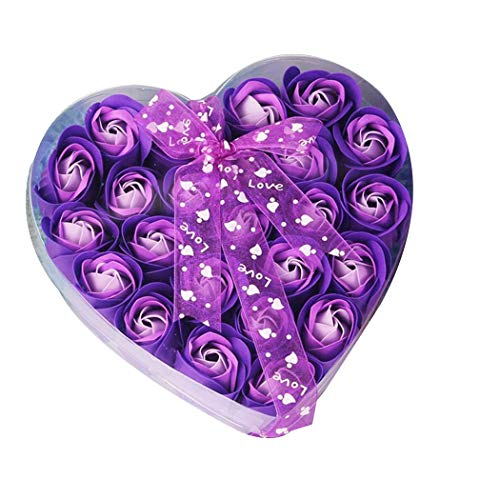 Mimanou Heart Shaped Box Rose Soap Flowers Romantic Wedding Party Gift Bathroom Decor Flower Decoration, purple, one size