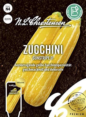 Zucchini Sunstripe F1, hervorragende gelbe Zucchinispezialität, Samen