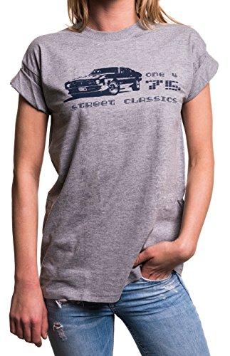 Rockabilly Damen Oberteile große Größen - 70er Jahre Bekleidung - Mustang T-Shirt locker & lässig geschnitten grau S