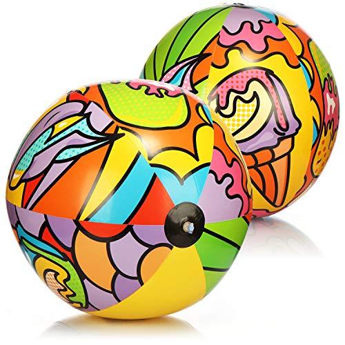 com-four® 2X Wasserball aufblasbar - Strandball mit sommerlichen Motiven - riesen Wasserball für Strand und Pool - Badespielzeug (Ø 91 cm - 02 Stück)