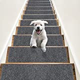 """RIOLAND Non-Slip Stair Treads Carpet Indoor 14 Pack Stair Rugs for Wooden Steps Anti Moving Stair Runners Safety for Dogs Elders and Kids, 8"""" x 30"""", Grey White"""