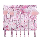 Makeup brushes Set de pinceles de maquillaje 7 piezas de cristal rosa brillante líquido Quicksand Handle Brush de maquillaje Pincel de nylon suits (Color : Purple glitter handle and pink hair)