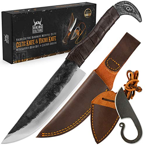 Viking Culture 2-Piece Viking Knife Set - 10.3' Raven-Head Viking Knife with 6.5' Blade & Leather Sheath - 3' Celtic Pocket Knife with Necklace Case - Sharp Hand-Forged Real Carbon Steel