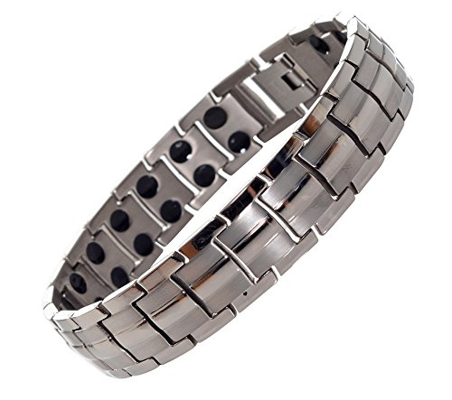Titanium Magnetic Pain Relief Therapy Bracelet from MnB Magnetic Bracelets (Silver)