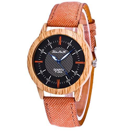 JZDH Frauen Uhren Uhren Frauen Natur Holzuhr Minimalistische Uhr Bambus Denim Mode Coole Damen Armbanduhr Ladies Girls Casual Decorative Uhren (Color : H)