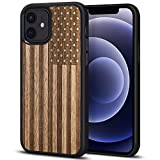 JUBECO iPhone 12 Pro/12 Case Wood, Natural Slim Eleghant Wooden Protective Cover with Rubber Bumper for iPhone 12 / pro 6.1-inch … (American Flag-Walnut)