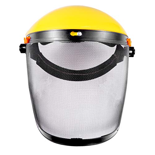 NICEXMAS Casco de Seguridad Forestal Protector Facial Industrial Motosierra Visera Protectora Ojos Protección Facial a Prueba de Salpicaduras de Polvo para Césped Amarillo Al Aire Libre